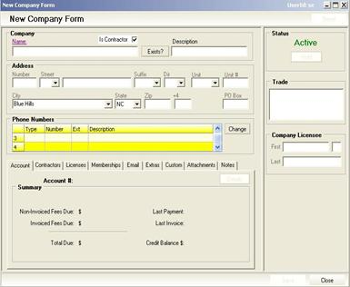 New Company Form