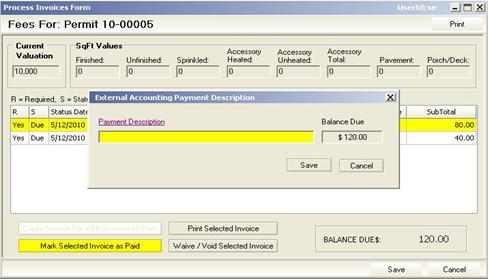 External Accounting Payment