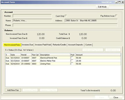 Account Form: Non-Invoiced Fees