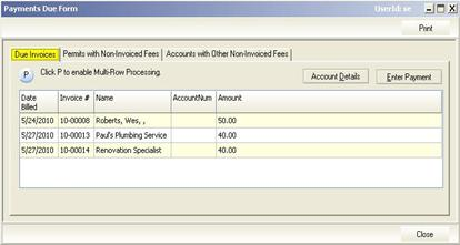 Payments Form: Due Invoices